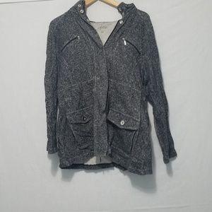 Gray Zip up Rain Coat